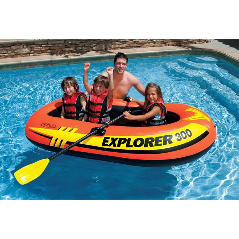 Bateau de pêche gonflable INTEX 2-3 personnes bateau à rames en caoutchouc épaississement Kayak bateau gonflable Barco avec rames et pompes