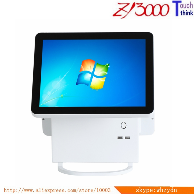 New Stock Double 15 Inch All In One Capacitive Multi Touch Screen  Windows Smart Pos Terminal