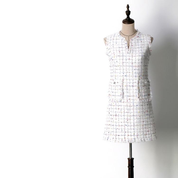 Kleider Chart Quaste Winter Fringe Herbst ausschnitt See V Tweed Kleid Mode Neue Elegante Frauen Plaid tasche Überprüfen 2018 2 Weiß Ärmelloses QoBCxerdW