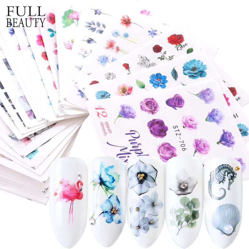 1pcs Water Sticker Nail Decal Flower Designs New Slider Flamingo Dried Floral Manicure Wraps Foils Nail Art Decor CHSTZ683-706