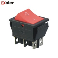 CE 2 Position DPDT ON ON Rocker Switches AC 20A 125V 16A 250V 6 Pins 29*21MM Black Double Pole Switches With Solder Terminal