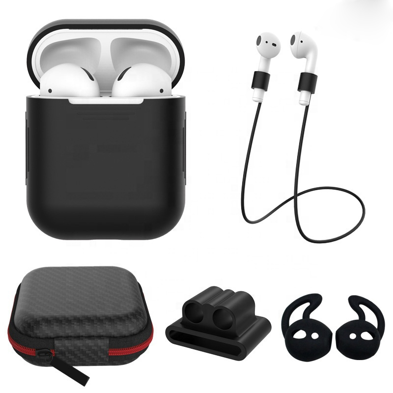 Silicone Case Cover Earphone Pouch Anti Lost magnetic Strap Holder Eartips Carabiner Buckle for Apple AirPods Accessories Pack