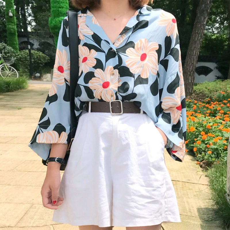 Summer Floral floral printed   Blouse     Shirt   Women Long Sleeve Tops Navy Blue   Shirts     Blouses   Turn-Down Collar Blusas Femininas