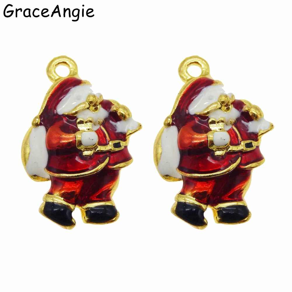 10pcs Santa Claus Cute Tree Christmas Jewelry Findings Bells Earrings Accessories Gift Brooches Charm DIY Pendants  DIY  Gift