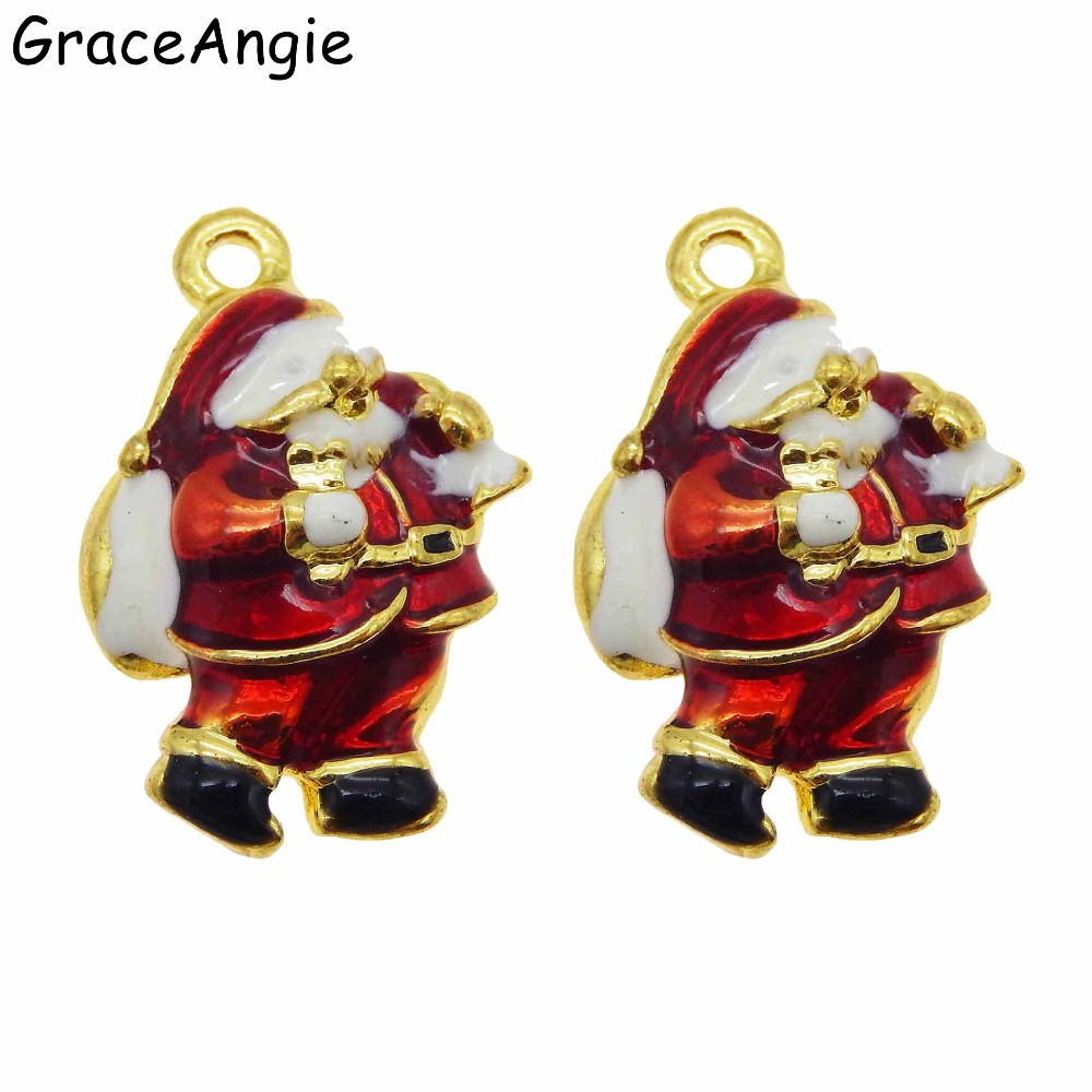 10pcs Santa Claus Cute Tree Christmas Jewelry Findings Bells Earrings Accessories Gift Brooches Charm DIY Pendants  DIY  Gift