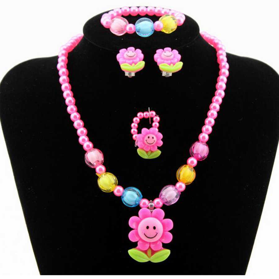 4Pcs Kids Baby Girl Kids Imitation Pearls Candy Bead Flower Necklace Bracelet Rings Earrings Jewelry Sets Children Gift JJAL T14