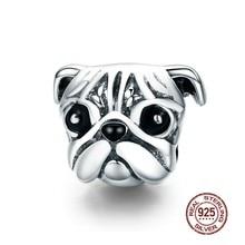 MOWIMO – Bracelet pendentif en argent Sterling 925, charmant, Animal, carlin, chien, perles, adapté, Original, bijoux pour femmes, BKC834
