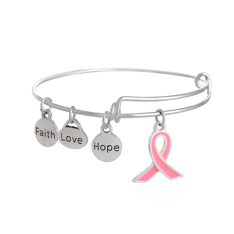 PBR073(1), Wholesale FaithLoveHope Charms Breast Cancer WarriorPreventionAwareness Survivor Pink Ribbon Adjustable Bangle