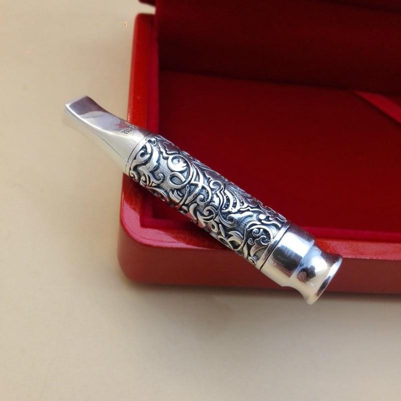 Image 4 - Pure Silver Xianglong Cigarette Holder With Filter Element  999  Silver Jewelry Cigarette Bag, Tap Cigarette, Pipe, MensCigarette  Accessories
