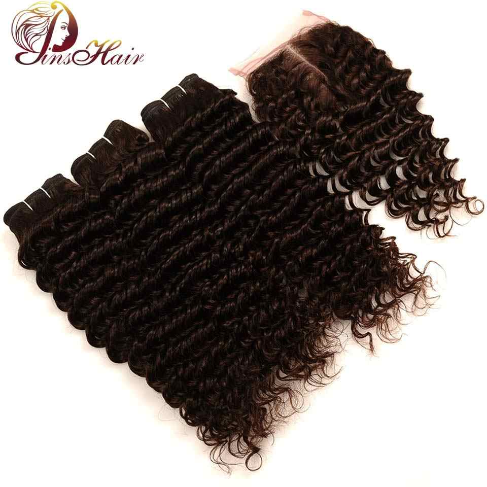 Pinshair Malaysian Deep Wave 3 Bundles With Closure Brown Color 4 100% Human Hair Weave 3Bundles And Closure Fast Ship Non Remy