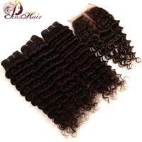 Pinshair Malaysian Deep Wave 3 Bundles With Closure Brown Color 4 100 Human Hair Weave 3Bundles