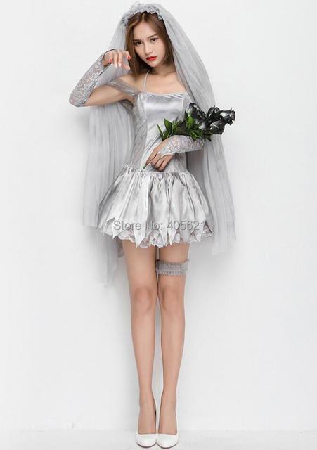 2017 Halloween Gray Print Ghost Corpse Bride Black Angel Horror Wedding Dress Zombie Up