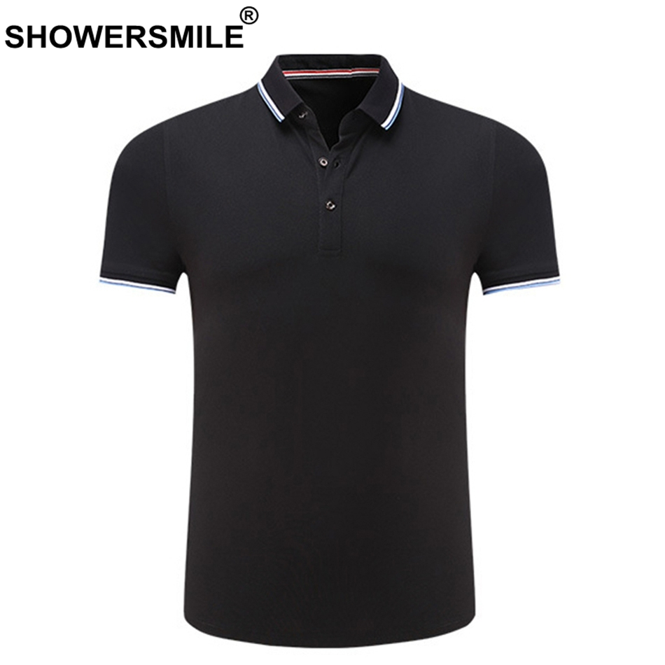 SHOWERSMILE Solid   Polo   Shirt Men Black Cheap Short Sleeve   Polo   T Tee Male Tops 2019 Business Casual Breathable Summer Clothing