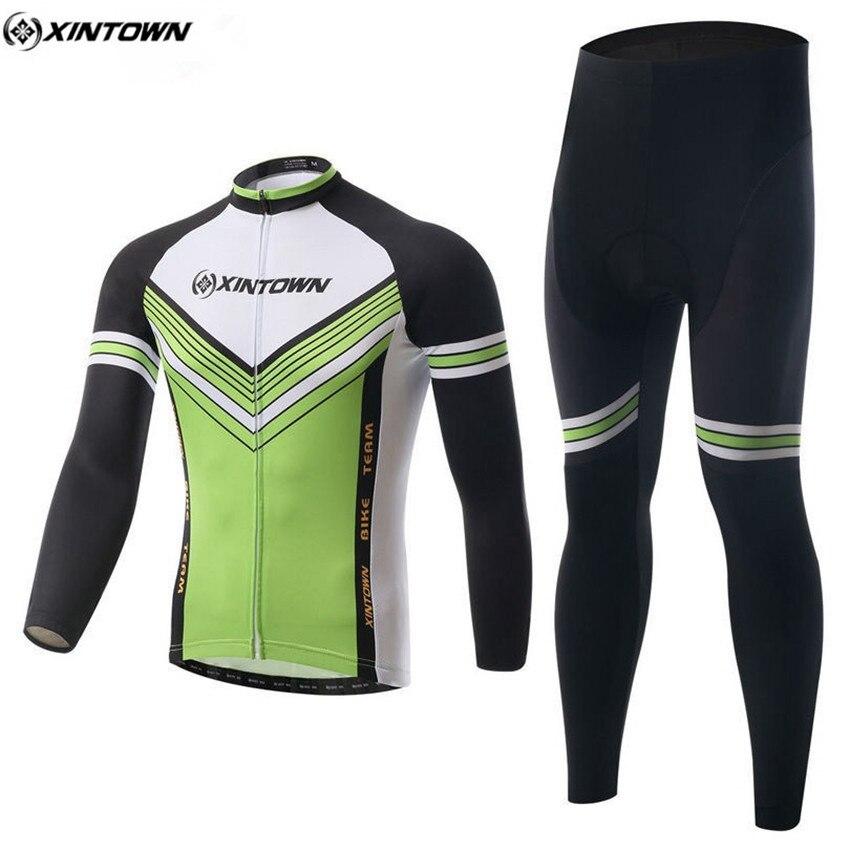 XINTOWN Men Long Sleeve Cycling Jersey Green-White Bike Winter Maillot Roupa Ciclismo Cycling Clothing Riding Sportswear CC0332