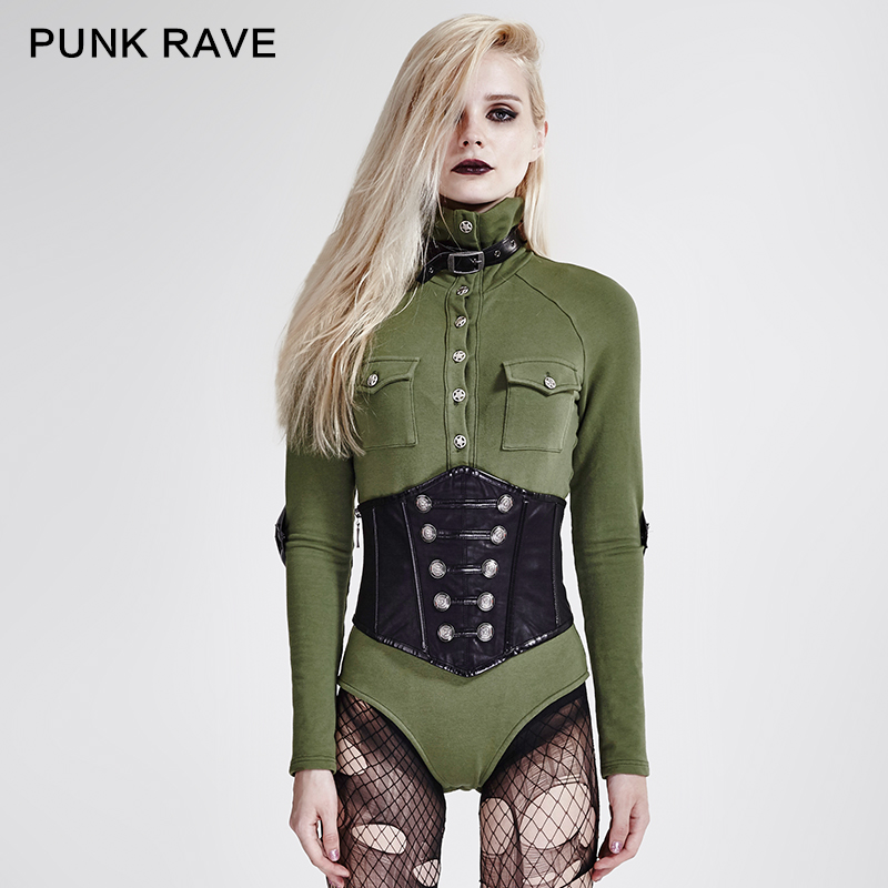 Sexy femmes couleur verte haut callor à manches longues militaire uniforme style coslay T-shirt haut T434GR
