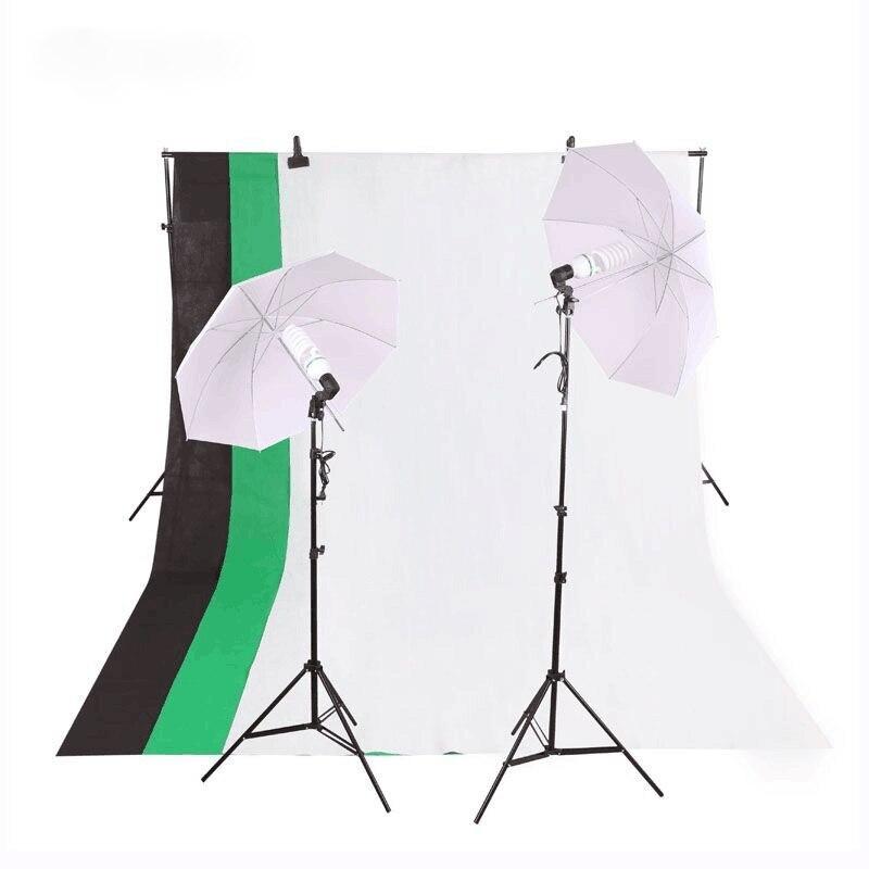 Nouveau STYLE photographie 270 w ampoule mousseline toile de fond support E27 lumière douille doux parapluie blanc Umberlla ensemble Photo Studio Kit