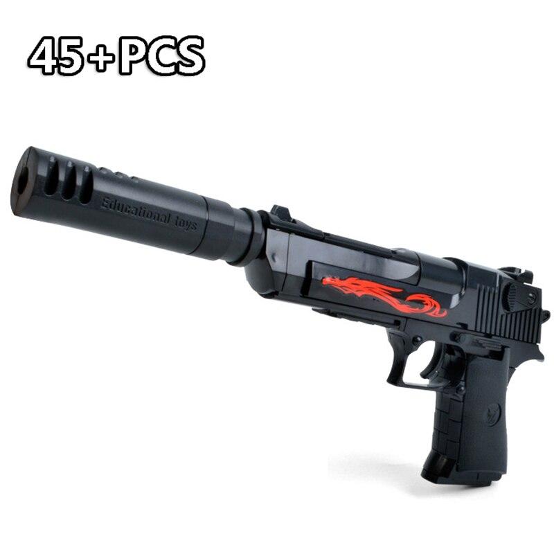 45PCS DIY Gun Assembly Building Blocks Brick Pistol Rifle Miniature Model Plastic Educational Toys For Children Boy Gift