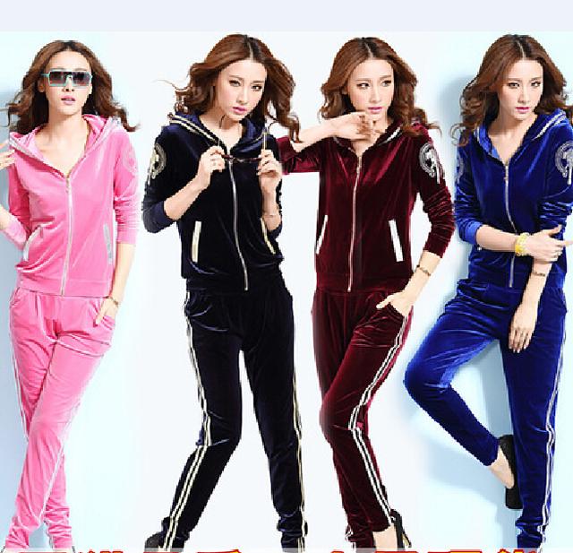 2015 nova outono inverno roupas femininas fatos de treino definido 2 peça : casaco com capuz + calça ternos Sportswear mulher ocasional macacão azul, Rosa, Vermelho