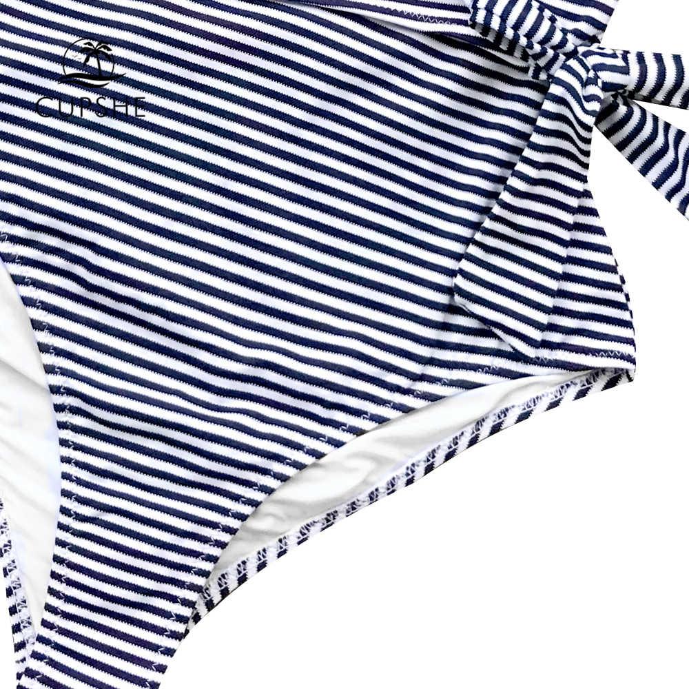 CUPSHE, темно-синий и белый полосатый слитный купальник для женщин, с рюшами, завязанный бантом, монокини, 2018, открытая спина, пляжные купальники, купальники