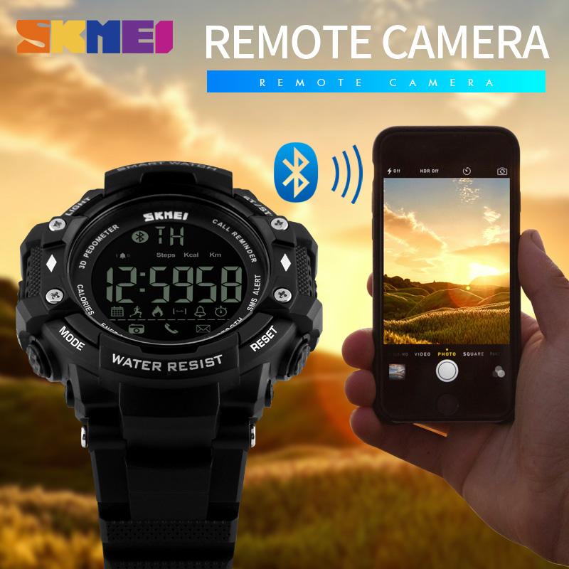 Prix pour Sports de plein air Smart Watch Hommes Montres Podomètre Calories Bluetooth Fitness Tracker 50 M Étanche Hommes Montres SKMEI