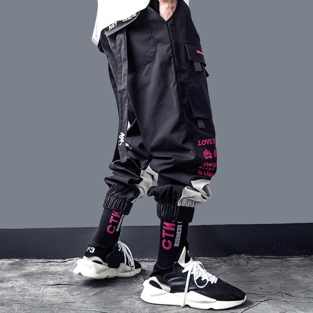 Pants Men Letter Embroidery Hip Hop Harem Joggers Back Ribbon Trousers Man