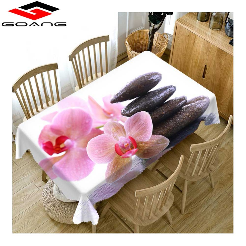 GOANG Table Cloth waterproof cotton tablecloth Orchid Stone Rectangular And Round Dining Table Cover For home decoration
