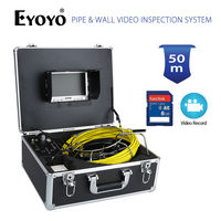 Eyoyo 50M 7 LCD HD 1000TVL 4500mAh Battery Pipe Wall Video Inspection Sewer Drain Camera DVR Recorder 8GB SD Card