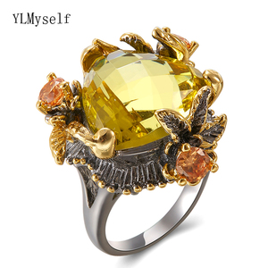 Image 2 - Big Golden triangle stone Ring Champagne cubic zirconia Jewellery Womens Fashion Copper Jewelry Hot rings for Party
