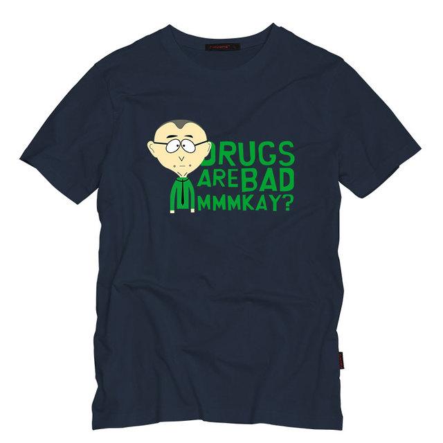Hombres camiseta de la Manera de South Park Sr. Mackey MMMKAY Drogas Arebad Imprimir Algodón de Manga Corta Camiseta Ocasional tops camisetas