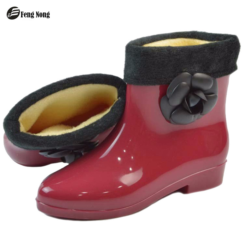 Fengnong Fashion rain boots waterproof flat with shoes woman rain woman water rubber flower ankle boots good quality botas w065