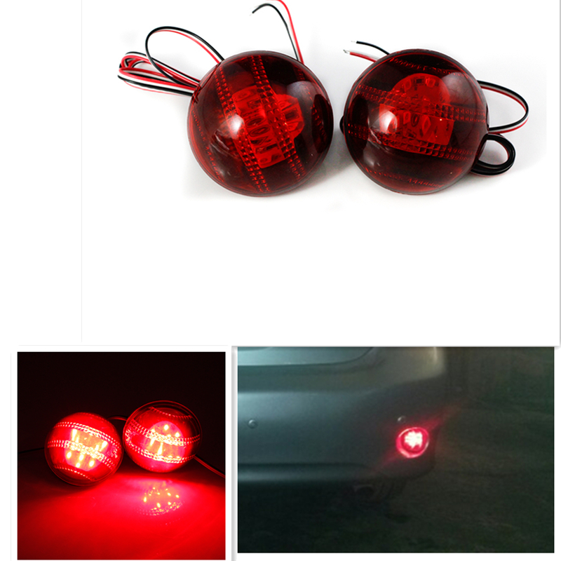 OKEEN 2PCS For toyota corolla 2007 Parking Warning Brake Tail Lamp Red Lens Rear Bumper Reflector Light LED Red Bulb 12V Red new for toyota altis corolla 2014 led rear bumper light brake light reflector novel design top quality fast shipping