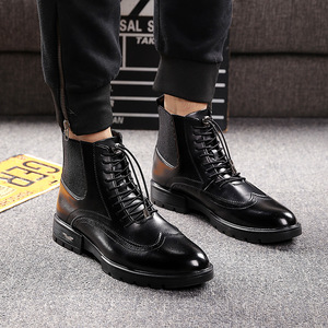 Image 2 - mens casual breathable cow leather boots black ankle boot chelsea booties carving bullock shoes gentlemen brogue shoe zapatos