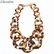 NEW Brand Ufavoirte Exaggeration DIY Statement Necklace Handwork Punk Big Acrylic Resin Chain Necklaces & Pendants For Women(China)