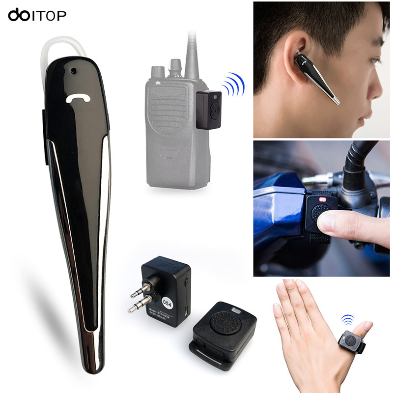 DOITOP Hands-free Walkie Talkie Bluetooth Earpiece Set K Type Earphone Two Way Radio Wireless Headset Set For Motorcycle Car B4 two way radio walkie talkie transceiver green
