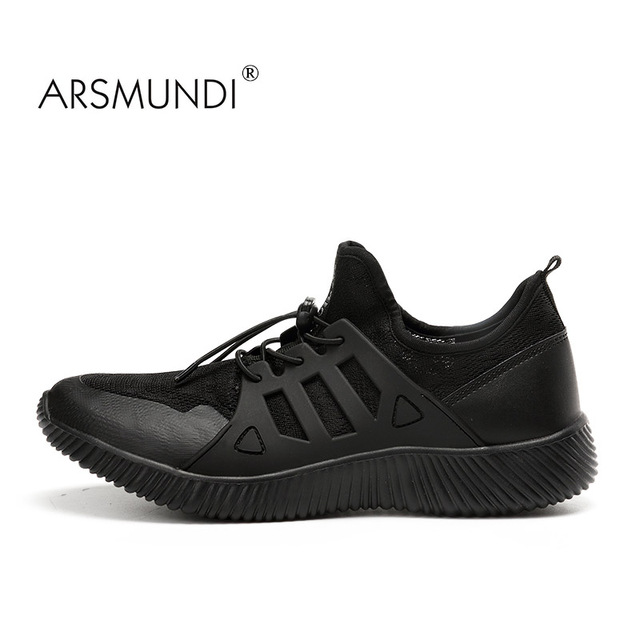 ARSMUNDI Men Yeezy Shoes Super Light Speed Running Shoes Breathable Mesh Outdoor  Athletic Shoes Comfortable Black