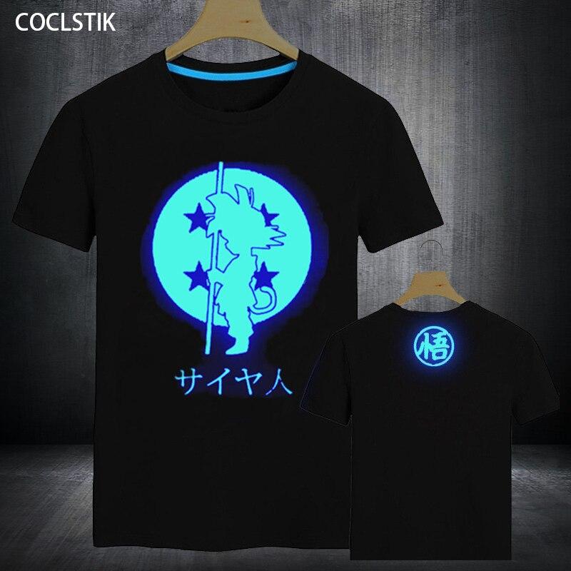 100% Capretti del Cotone/uomo Estate Anime Fluorescente Dragon Ball Z T-Shirt Super Saiyan Goku Maglietta Maschio Luminosa Parti Superiori della maglietta XS-5XL