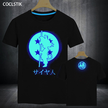 100%Cotton Kids/Men's Summer Anime Fluorescent Dragon Ball Z T-shirts Super Saiyan Goku T Shirt Male Luminous Tshirt Tops XS-5XL