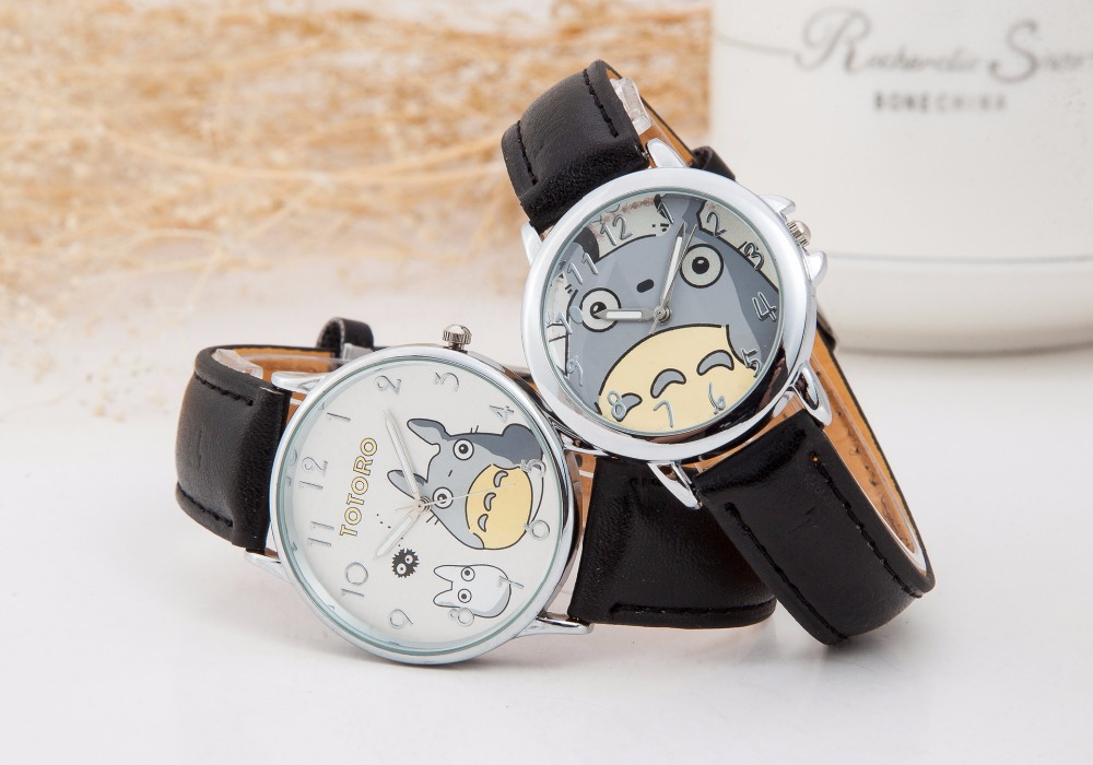 2017 Fashion Cartoon Watch Women Totoro Pattern Quartz Watches Ladies Kids Casual Dress Wristwatches Clock Gift 10pcs/lot