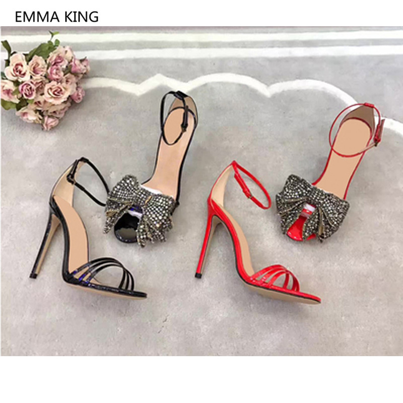 New Fashion Women Gladiator Sandals Open Toe Bow-Knot Party Shoes Woman Sexy Stiletto High Heels Patent Leather Roman Sandals