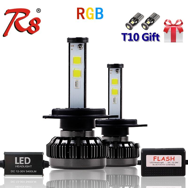 Nouvelle voiture populaire Multicolors RGB Auto phare LED Kits H1 H7 H4 H8 HB3 HB4 881 H16 APP Bluetooth télécommande bricolage Foglight