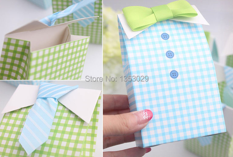 Free Shipping 30 Sets Baby Shower Party Decorations My Little Man Candy Bags Wedding Gifts Paper Boxes In Gift Wrapping Supplies From Home