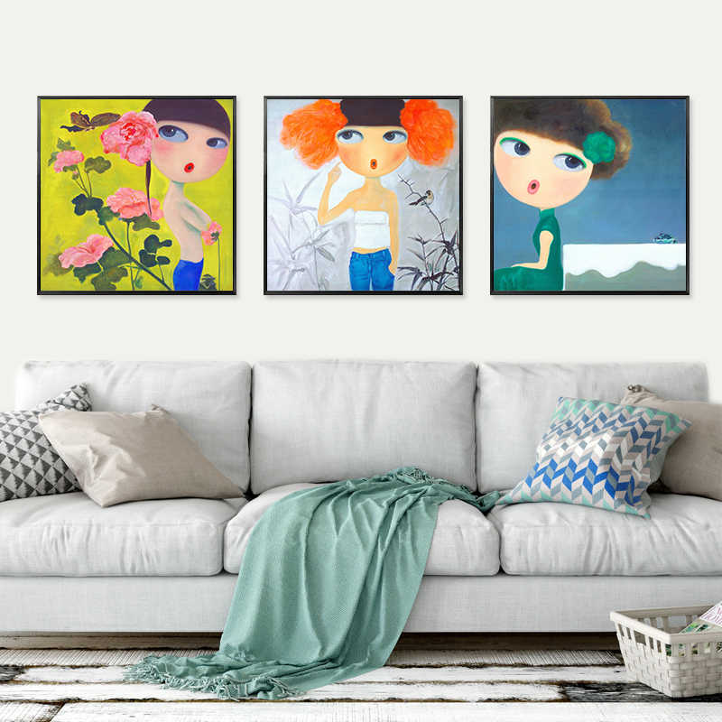 Amazing ... NEWBILITY Baby Girl Room Decor Kids Room Paintings Living Room Lovely  Girl Pictures Bedroom Poster Cartoon ...