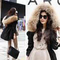 Winter jacket women medium-long Army Green overcoat outerwear large real raccoon fur collar wadded jacket cotton-padded jacket