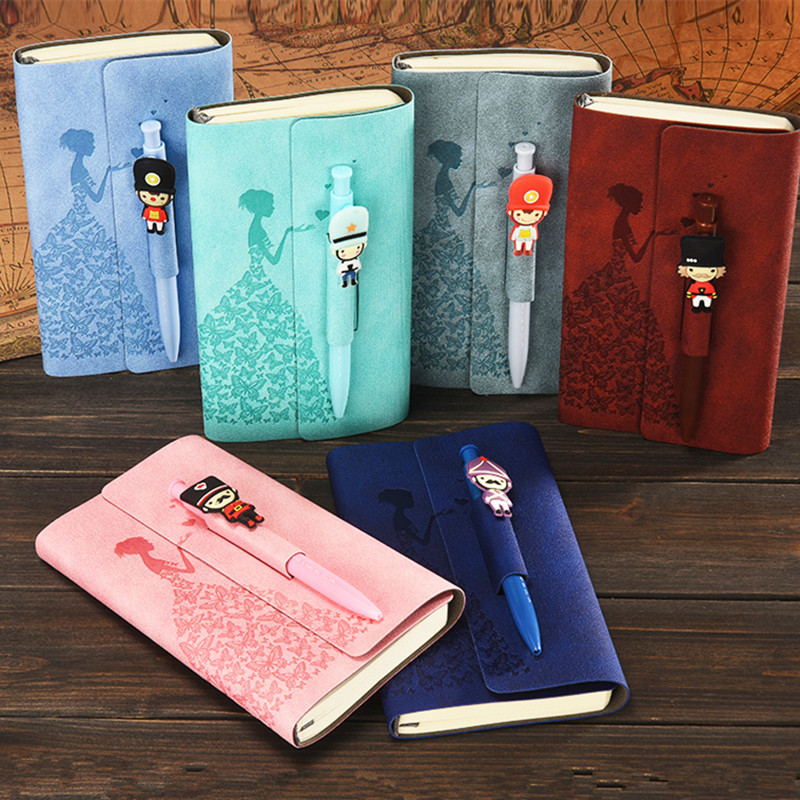 Mini Students Cartoon Notebook With Pen Korea Style Children Daily Memos Portable Cute Pocket Composition Book School Stationery a5 b5 spiral cute notebook new school stationery horizontal page daily memos top quality paper school supplies composition book