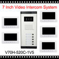 "2016 New Arrival 7"" Video Intercom Apartment Door Phone Kit 5 White Monitors 1 Outdoor Camera for 5 Family Home Security System"