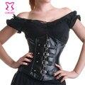 Negro Faux Leather Corset de Cintura Que Adelgaza de Underbust Corsés y Bustiers Góticos Corpetes E Espartilhos Bustier Korsett Sexy de Las Mujeres