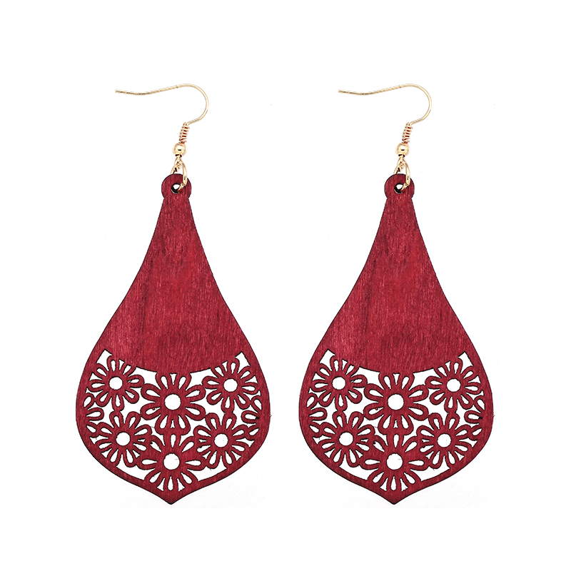 YULUCH New design retro African wooden irregular geometric openwork screen flower pendant for fashion woman jewelry earrings