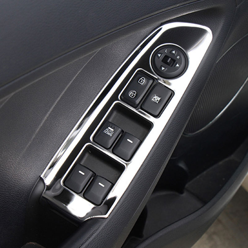 INTERIOR DOOR WINDOW BUTTON CONTROL PANEL COVER STICKERS FOR KIA K3 FORTE K3 CERATO 2012 2016