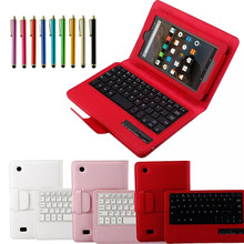 Regalo hermoso nuevo teclado bluetooth de cuero en folio case para 2015 amazon kindle fire hd 7 dec19