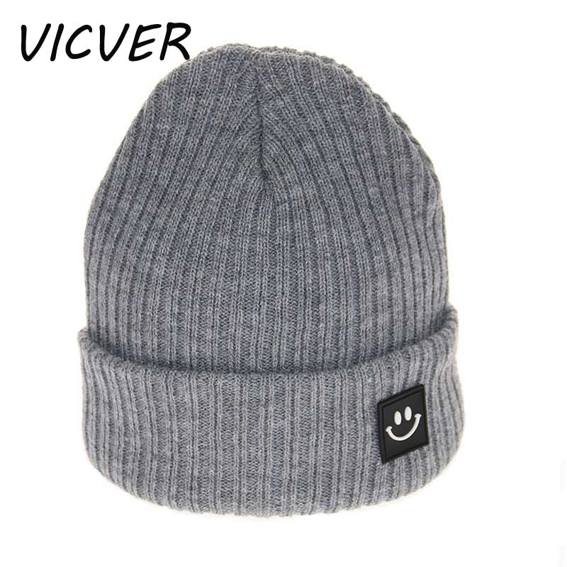 Knit Color Smile Hat Winter Cap Children Solid Color Smile Kids Knitted   Skullies     Beanies   Warm Soft Hat Boys Girls Crochet Caps